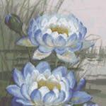 Blue Cloud Water Lily cross stitch pattern