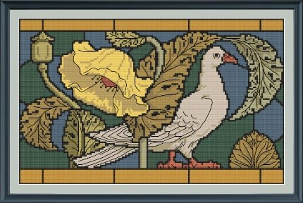 Stained Glass Pigeon cross stitch pattern