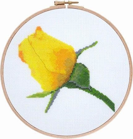 Yellow Rose Bud cross stitch pattern