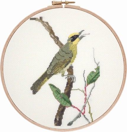 Yellow-tufted Honeyeater cross stitch pattern